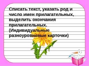 Списать текст, указать род и число имен прилагательных, выделить окончания п