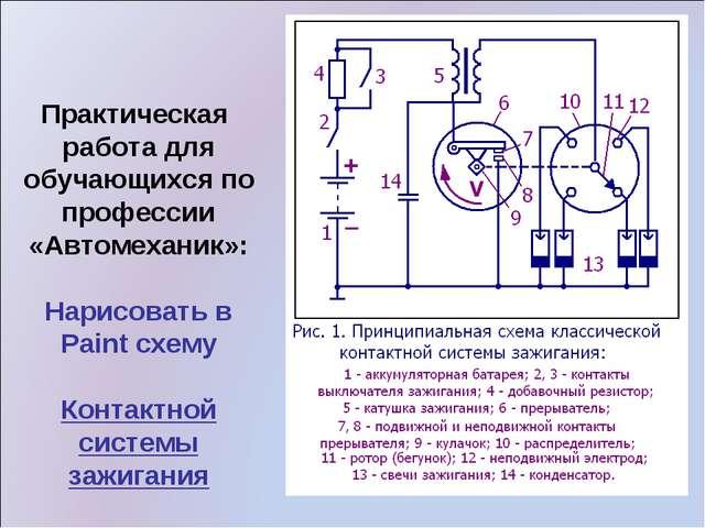 Практическая работа для обучающихся по профессии «Автомеханик»: Нарисовать в...