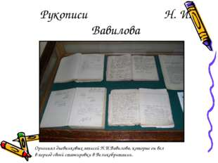 Рукописи Н. И. Вавилова Оригинал дневниковых записей Н.И.Вавилова, которые он