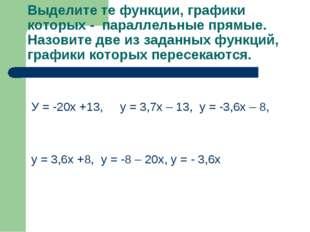 Выделите те функции, графики которых - параллельные прямые. Назовите две из з