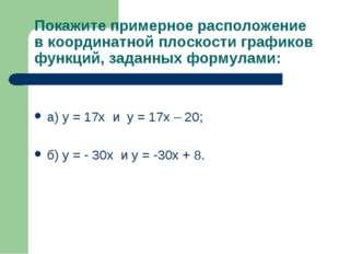 Покажите примерное расположение в координатной плоскости графиков функций, за