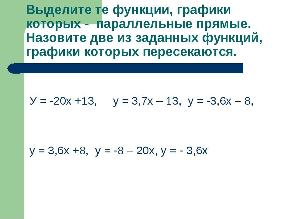 Выделите те функции, графики которых - параллельные прямые. Назовите две из з...