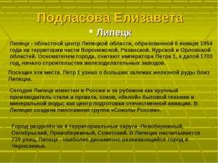 Подласова Елизавета Липецк Липецк - областной центр Липецкой области, образов