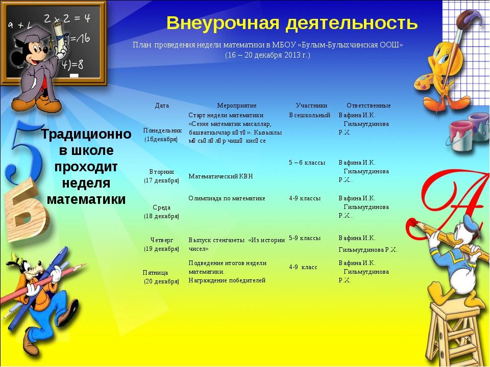 Внеурочная деятельность Традиционно в школе проходит неделя математики План п...