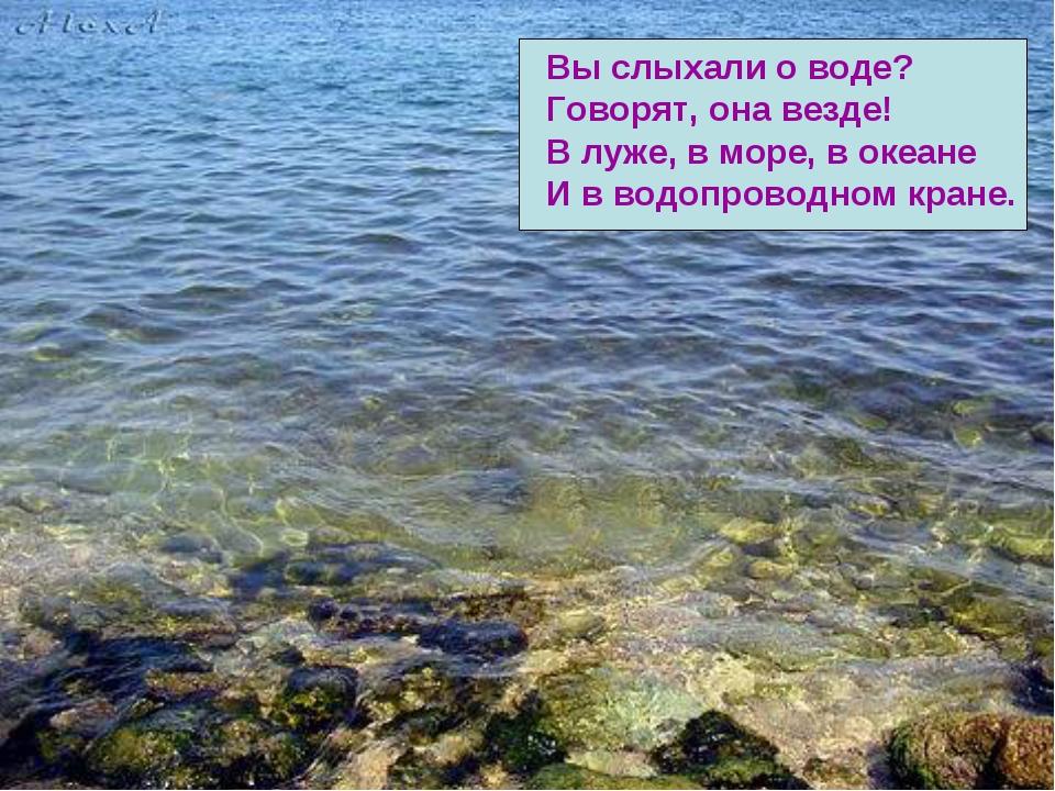 Вы слыхали о воде? Говорят, она везде! В луже, в море, в океане И в водопрово...