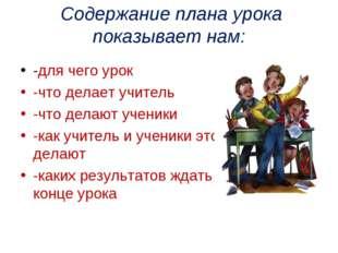 Содержание плана урока показывает нам: -для чего урок -что делает учитель -ч
