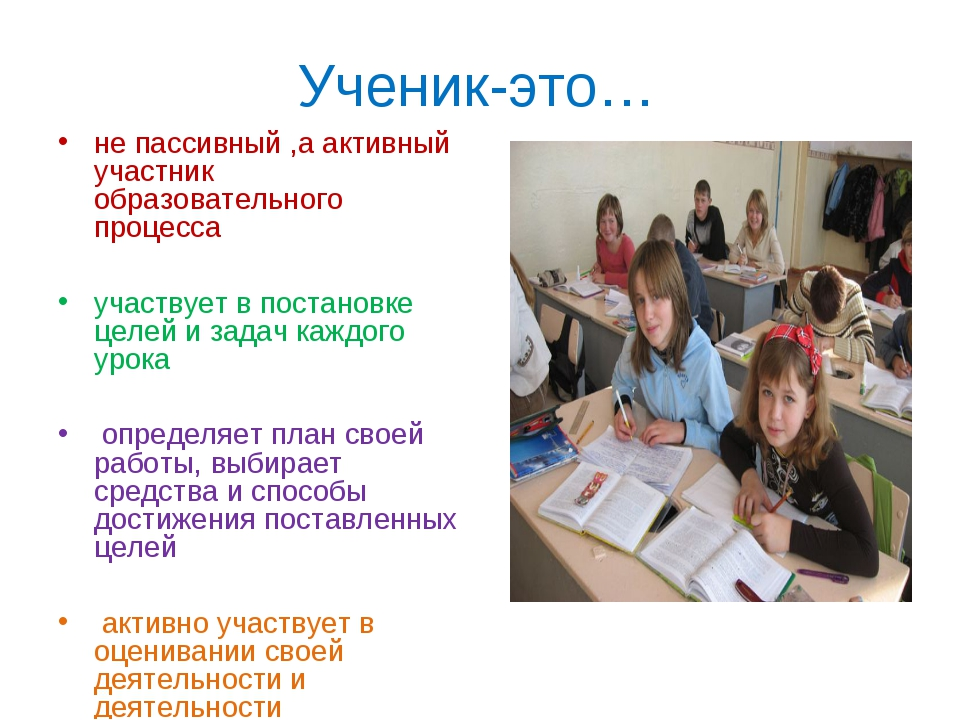 Ученик-это… не пассивный ,а активный участник образовательного процесса участ...