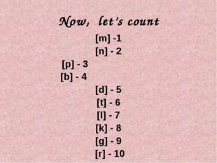 Now, let's count [m] -1 [n] - 2 [p] - 3 [b] - 4 [d] - 5 [t] - 6 [l] - 7 [k] -