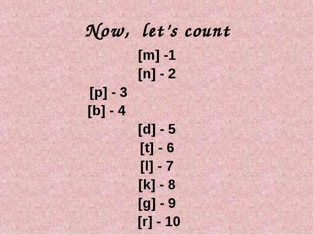 Now, let's count [m] -1 [n] - 2 [p] - 3 [b] - 4 [d] - 5 [t] - 6 [l] - 7 [k] -...