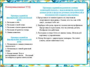 Коммуникативные УУД . Примеры заданий на развитие умения взаимодействовать с