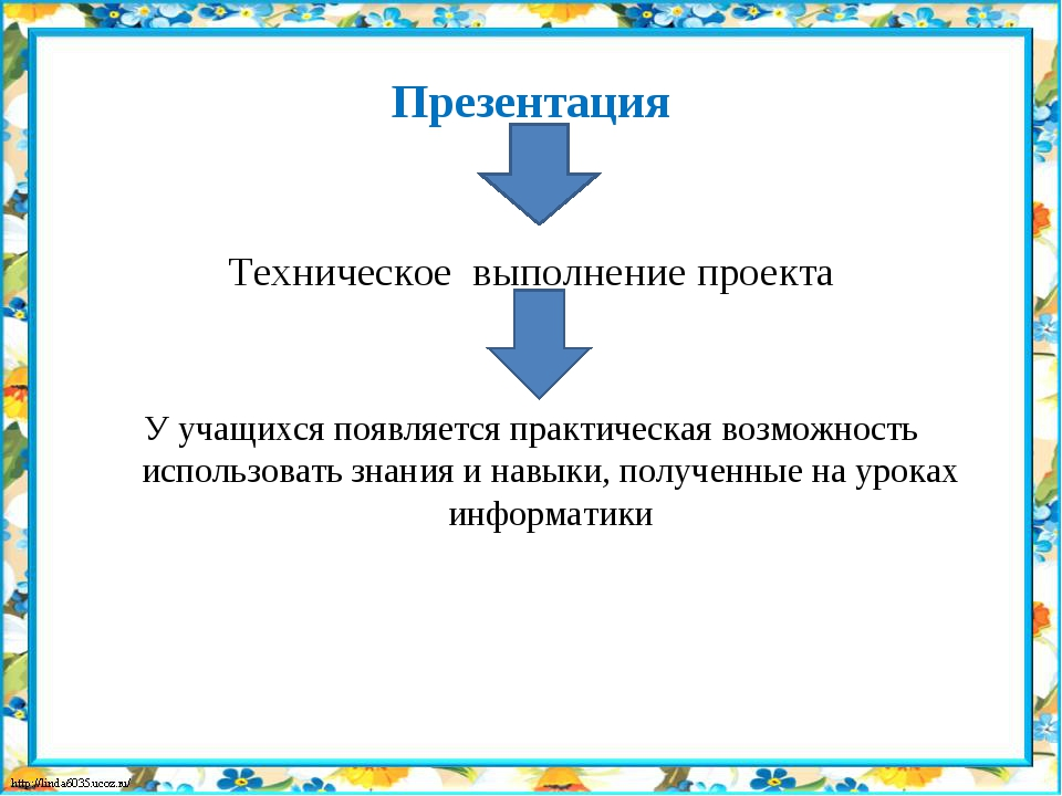 Презентация Техническое выполнение проекта У учащихся появляется практическа...