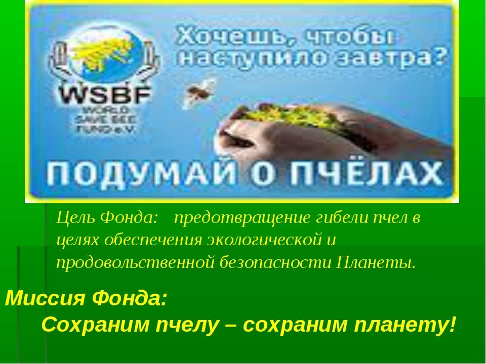 Миссия Фонда: Сохраним пчелу – сохраним планету! Цель Фонда: предотвращени...