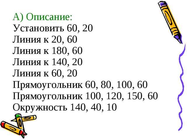 А) Описание: Установить 60, 20 Линия к 20, 60 Линия к 180, 60 Линия к 140, 20...