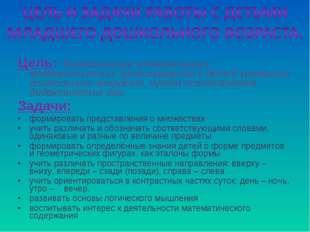 Цель: Формирование элементарных математических представлений у детей младшего