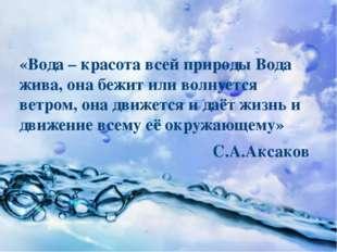 «Вода – красота всей природы Вода жива, она бежит или волнуется ветром, она д