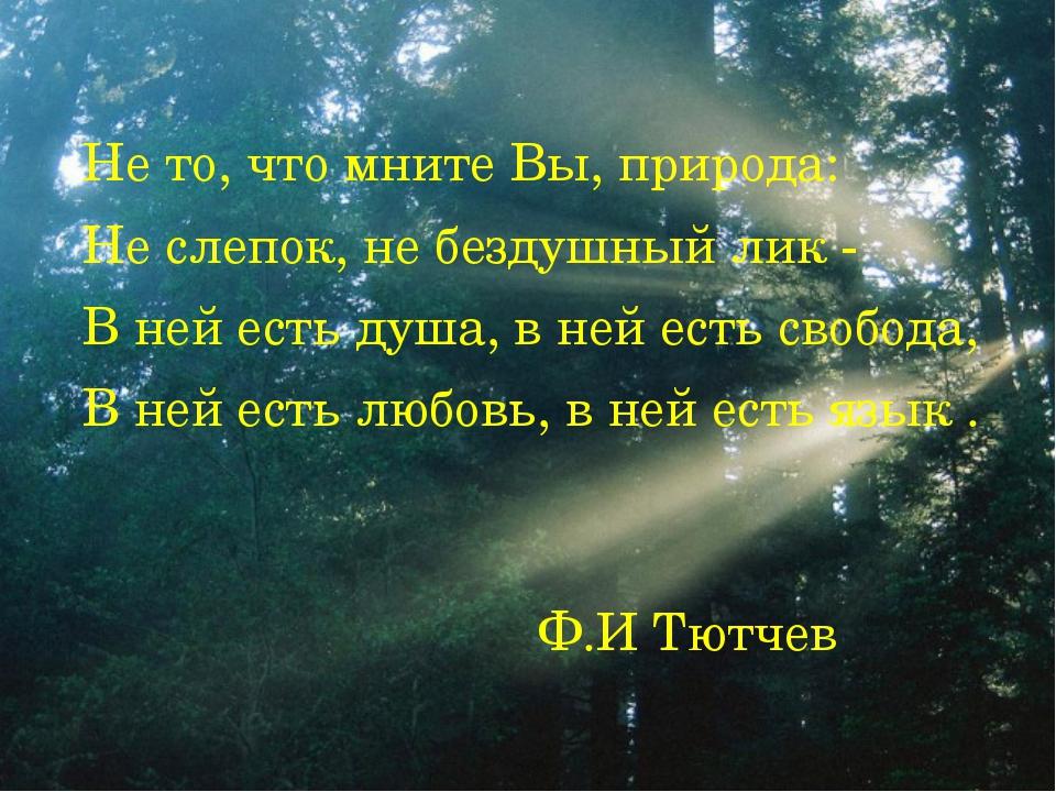 Не то, что мните Вы, природа: Не слепок, не бездушный лик - В ней есть душа,...