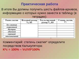 В итоге Вы должны получить шесть файлов-архивов, информацию о которых нужно з