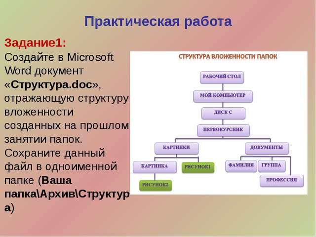 Задание1: Создайте в Microsoft Word документ «Структура.doc», отражающую стру...