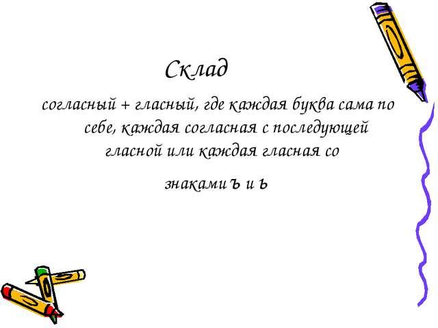 Склад согласный + гласный, где каждая буква сама по себе, каждая согласная с...