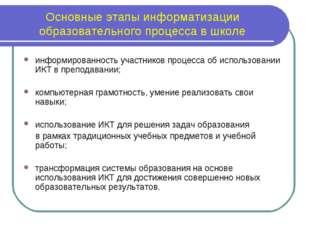 Основные этапы информатизации образовательного процесса в школе информированн
