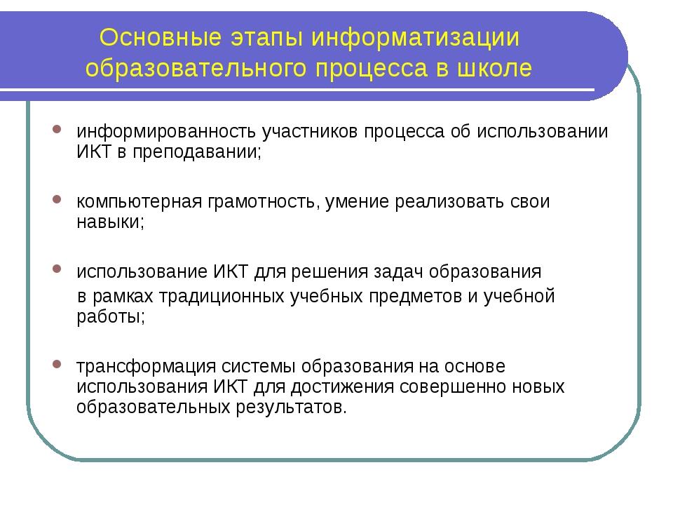 Основные этапы информатизации образовательного процесса в школе информированн...