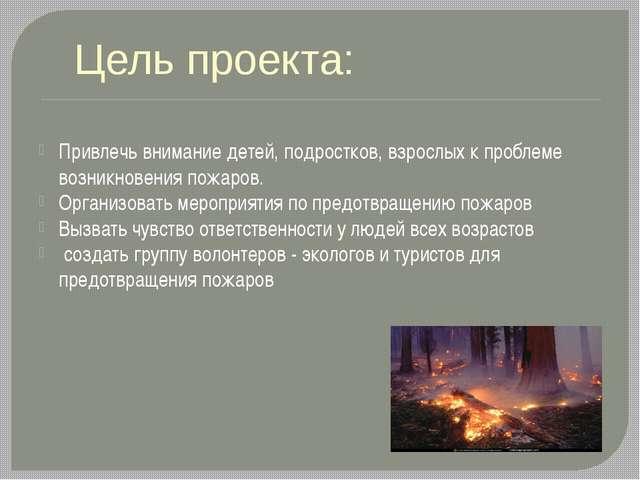 Привлечь внимание детей, подростков, взрослых к проблеме возникновения пожар...