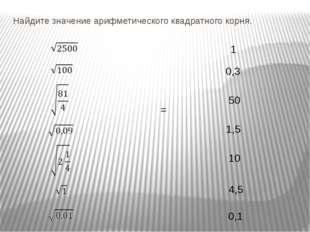 Найдите значение арифметического квадратного корня. 1 0,3 50 1,5 10 4,5 0,1 =