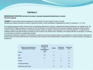 ТАБЛИЦА 3  МИНИМАЛЬНЫЕ НОРМАТИВЫ численности основного персонала предприяти