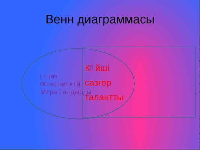 Венн диаграммасы Ұстаз 60 астам күй Мұра қалдырды Күйші сазгер талантты