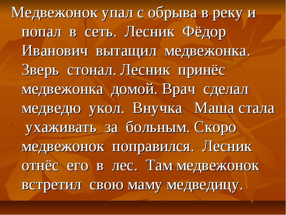Медвежонок упал с обрыва в реку и попал в сеть. Лесник Фёдор Иванович вытащил...