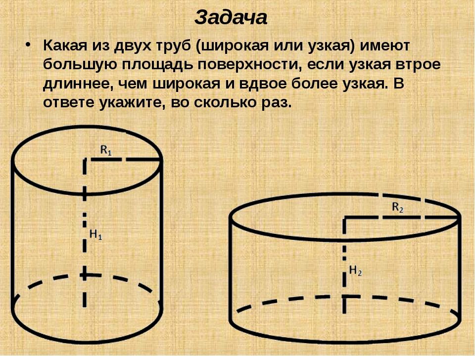 Задача Какая из двух труб (широкая или узкая) имеют большую площадь поверхнос...