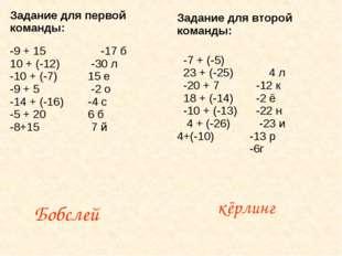 Бобслей кёрлинг Задание для первой команды: -9 + 15 10 + (-12) -10 + (-7) -9