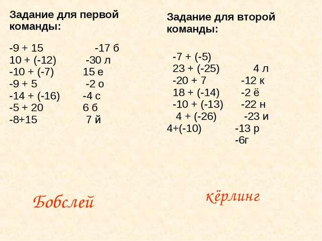 Бобслей кёрлинг Задание для первой команды: -9 + 15 10 + (-12) -10 + (-7) -9...