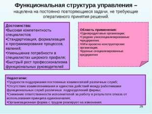 * Функциональная структура управления – нацелена на постоянно повторяющиеся з