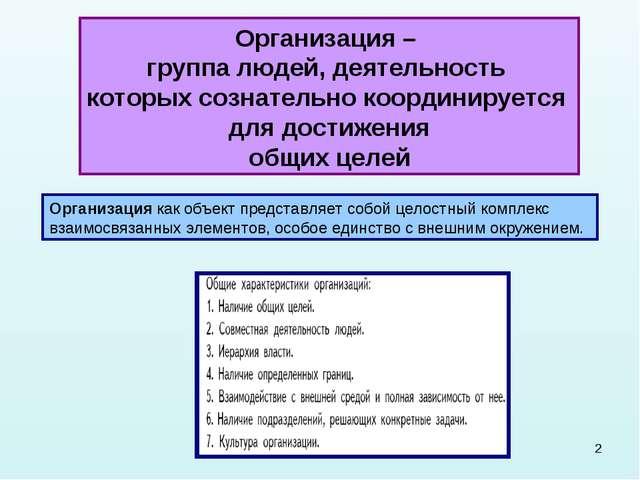 * Организация – группа людей, деятельность которых сознательно координируется...