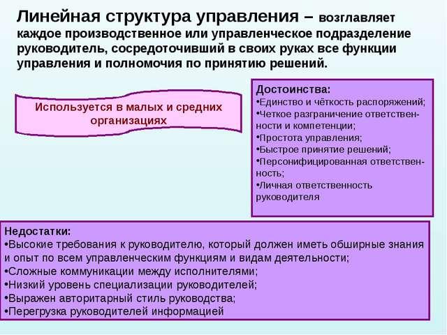 * Линейная структура управления – возглавляет каждое производственное или упр...