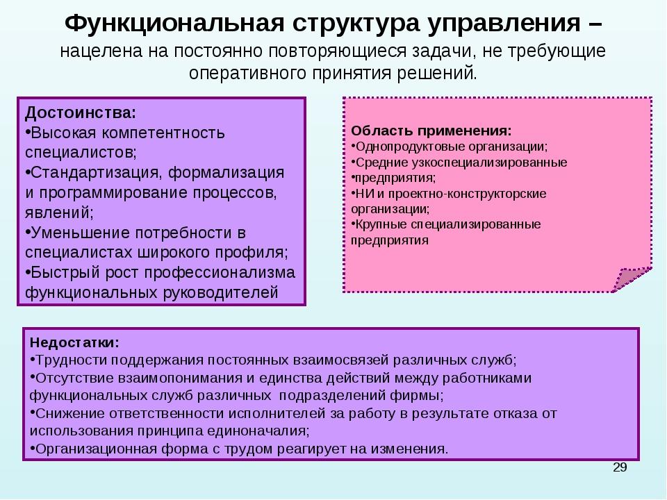 * Функциональная структура управления – нацелена на постоянно повторяющиеся з...