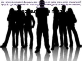 как только возникают формальные группы, они сразу становятся социальной средо