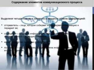 Содержание элементов коммуникационного процесса Выделяют четыре базовых элеме