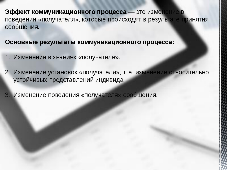 Эффект коммуникационного процесса— это изменение в поведении «получателя», к...