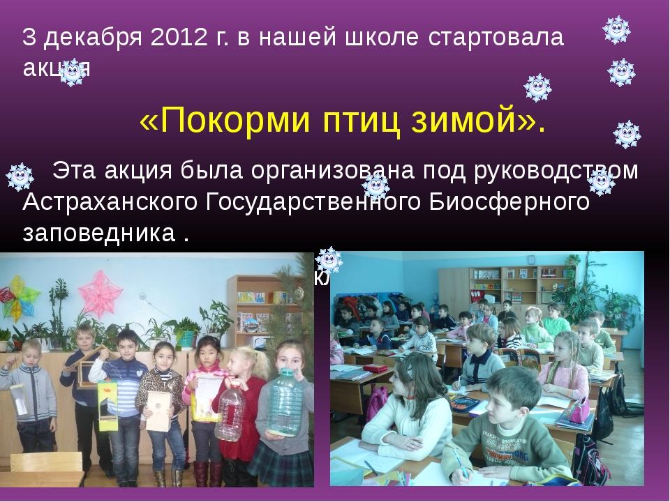 3 декабря 2012 г. в нашей школе стартовала акция «Покорми птиц зимой». Эта а...