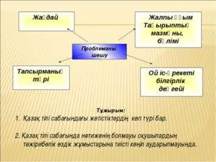 Проблеманы шешу Тұжырым: Қазақ тілі сабағындағы жетістіктердің көп түрі бар.