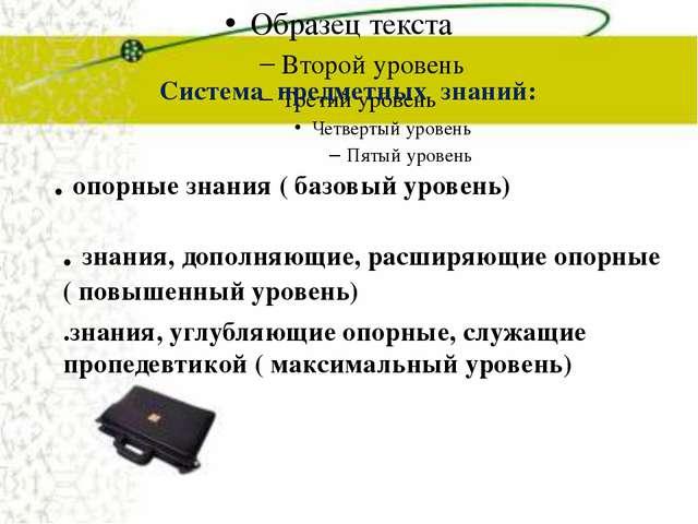 Система предметных знаний: . опорные знания ( базовый уровень) . знания, доп...