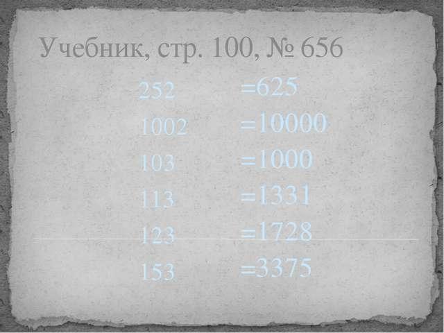 Учебник, стр. 100, № 656 252 1002 103 113 123 153 =625 =10000 =1000 =1331 =17...