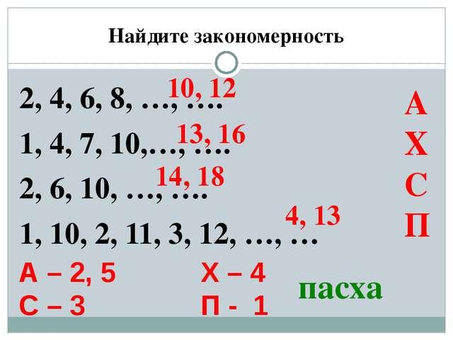 Найдите закономерность 2, 4, 6, 8, …, …. 1, 4, 7, 10,…, …. 2, 6, 10, …, …. 1,...