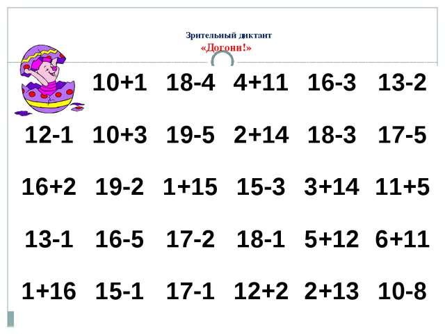 Зрительный диктант «Догони!» 10+1 18-4 4+11 16-3 13-2 12-1 10+3 19-5 2+14 18...