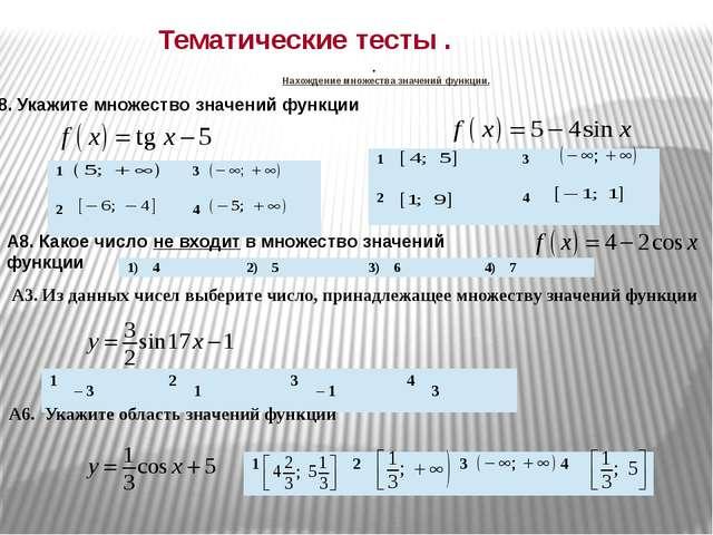 Нахождение множества значений функции. А8.Укажите множество значений функции...