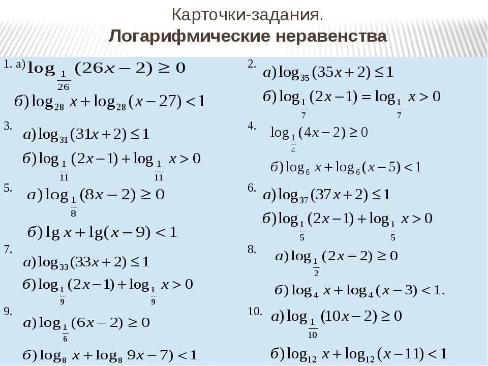Карточки-задания. Логарифмические неравенства 1. а) 2. 3. 4. 5. 6. 7. 8. 9. 10.