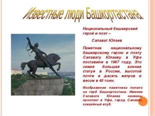 Национальный башкирский герой и поэт – Салават Юлаев Памятник национальному