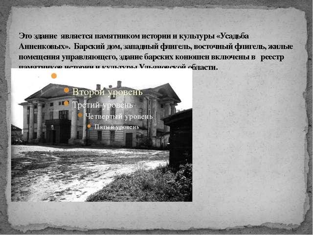 Это здание является памятником истории и культуры «Усадьба Анненковых». Барск...